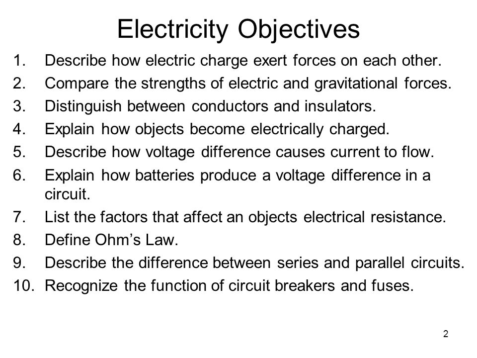 Electricity Objectives