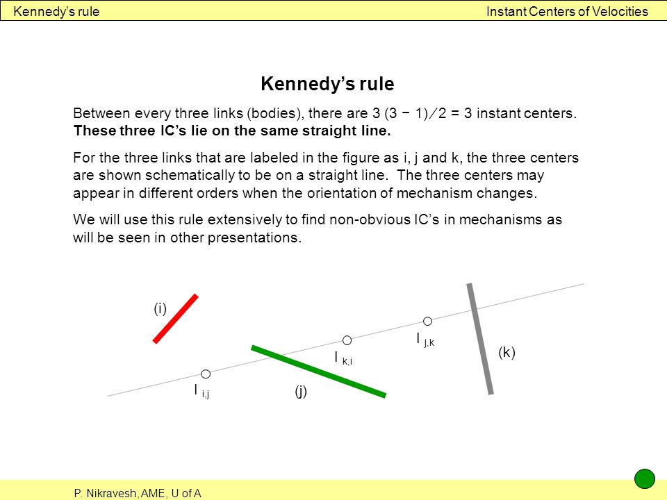Kennedy's rule Instant Centers of Velocities. Kennedy's rule.