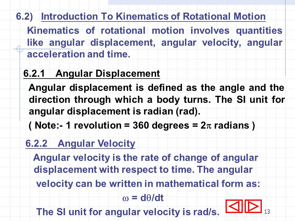 6.2) Introduction To Kinematics of Rotational Motion