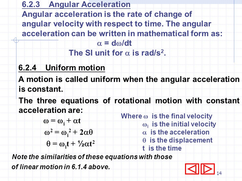 Angular acceleration is the rate of change of