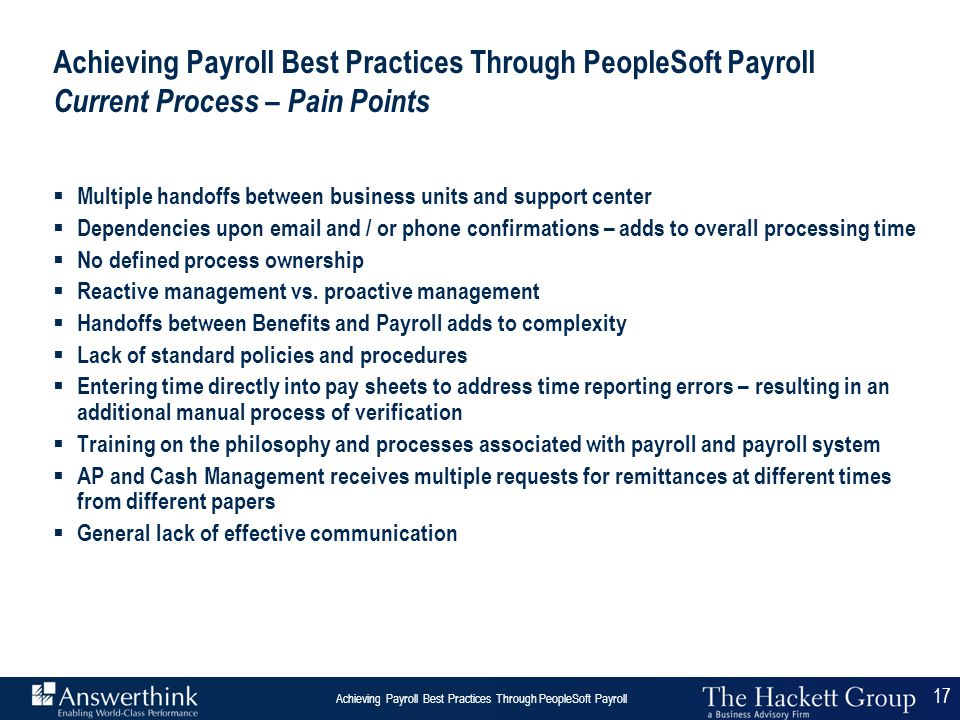 Achieving Payroll Best Practices Through PeopleSoft Payroll Current Process – Pain Points