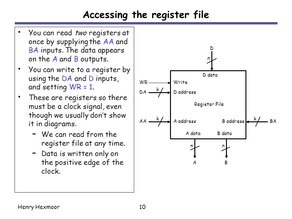 Accessing the register file