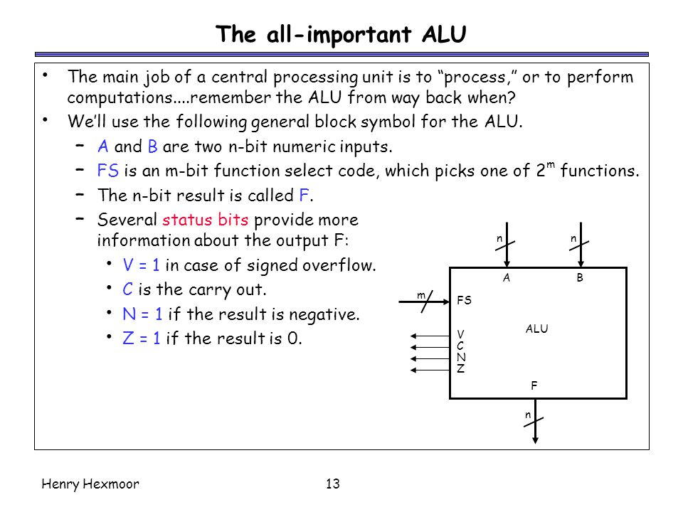 The all-important ALU The main job of a central processing unit is to process, or to perform computations....remember the ALU from way back when