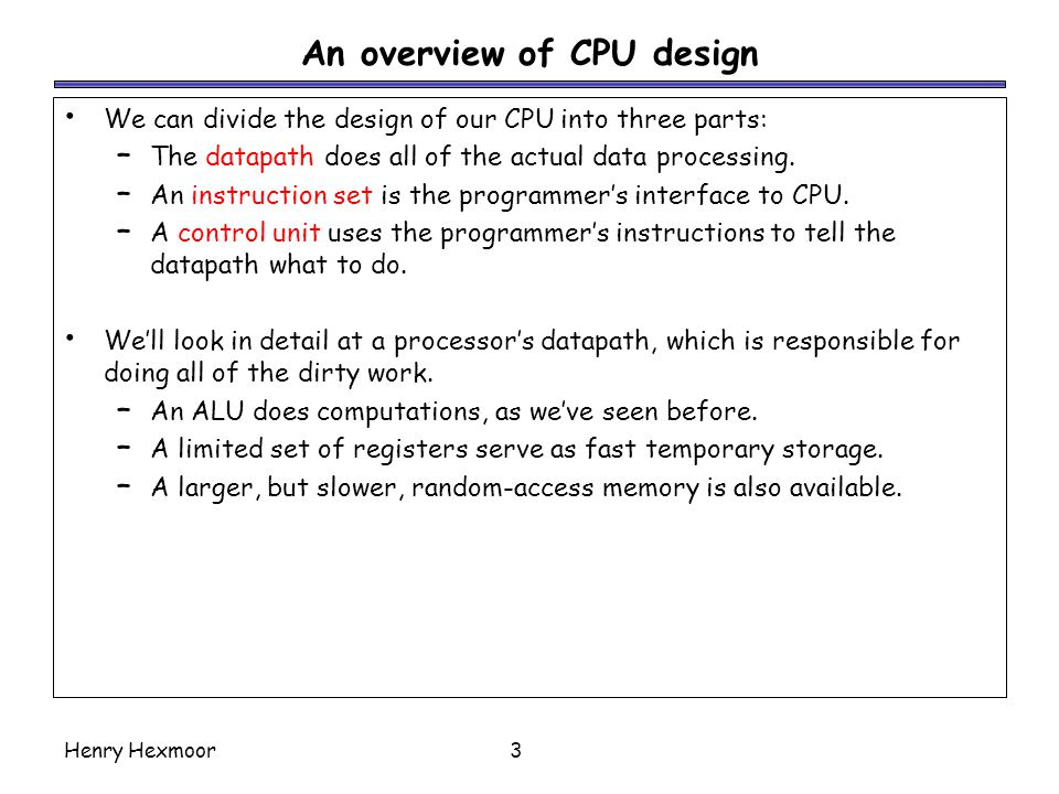 An overview of CPU design