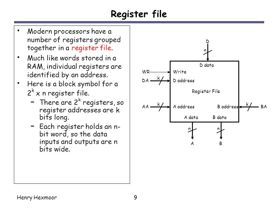 Register file Modern processors have a number of registers grouped together in a register file.