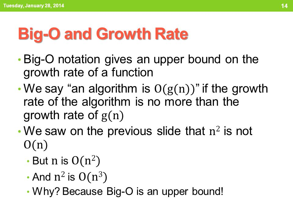 Tuesday, January 28, 2014 Big-O and Growth Rate. Big-O notation gives an upper bound on the growth rate of a function.