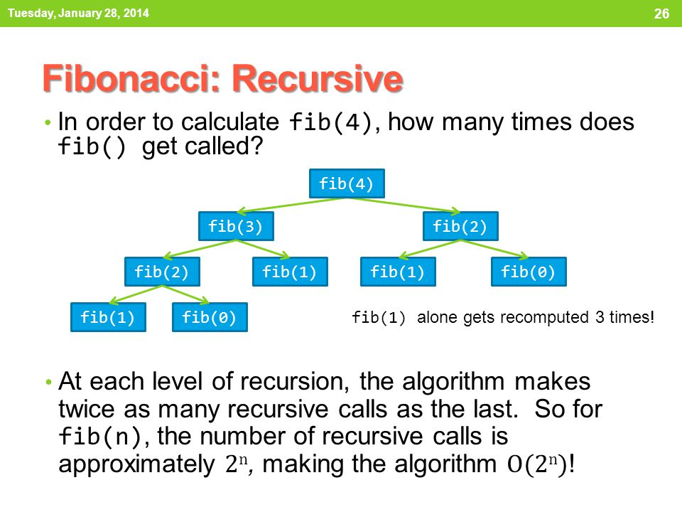 Tuesday, January 28, 2014 Fibonacci: Recursive. In order to calculate fib(4), how many times does fib() get called