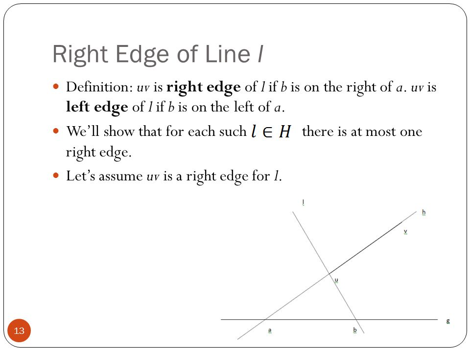 Right Edge of Line l Definition: uv is right edge of l if b is on the right of a. uv is left edge of l if b is on the left of a.