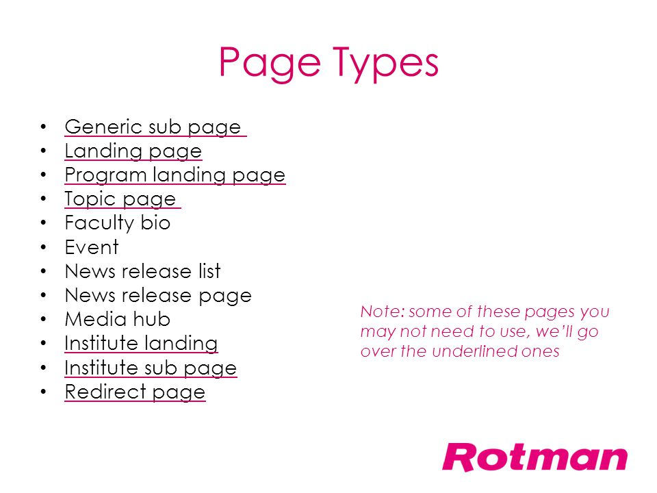 Page Types Generic sub page Landing page Program landing page