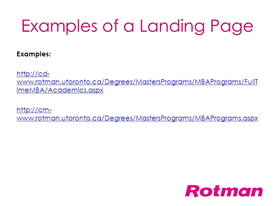 Examples of a Landing Page