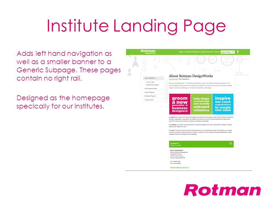 Institute Landing Page