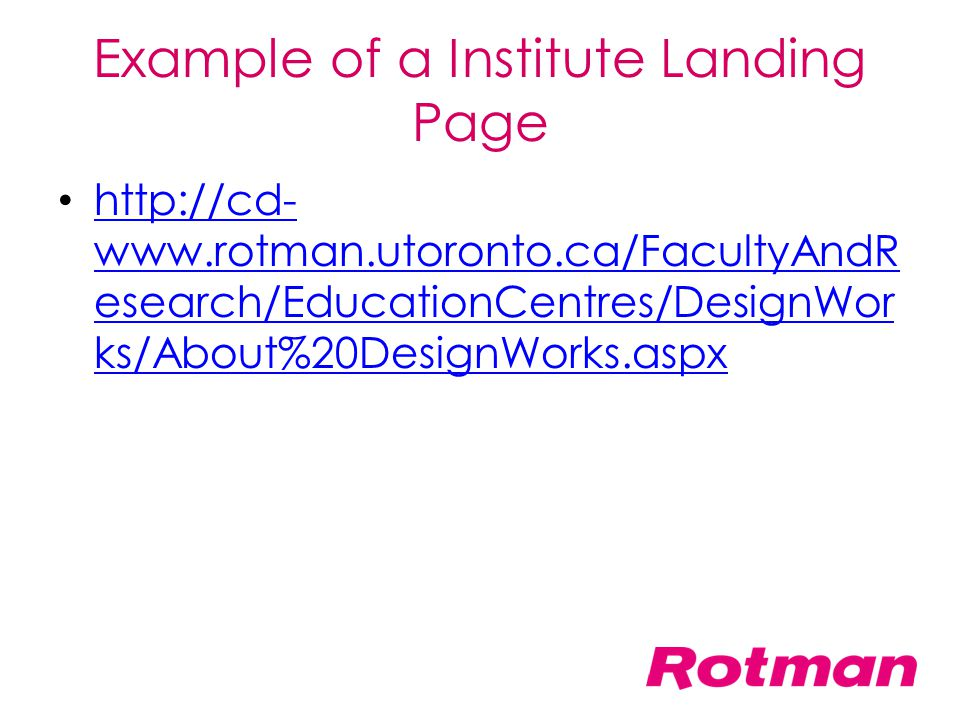 Example of a Institute Landing Page