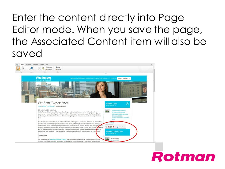 Enter the content directly into Page Editor mode