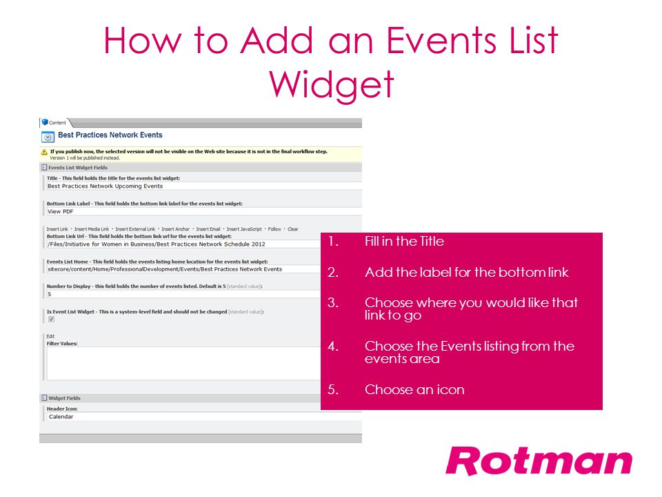 How to Add an Events List Widget