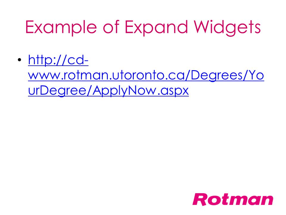 Example of Expand Widgets