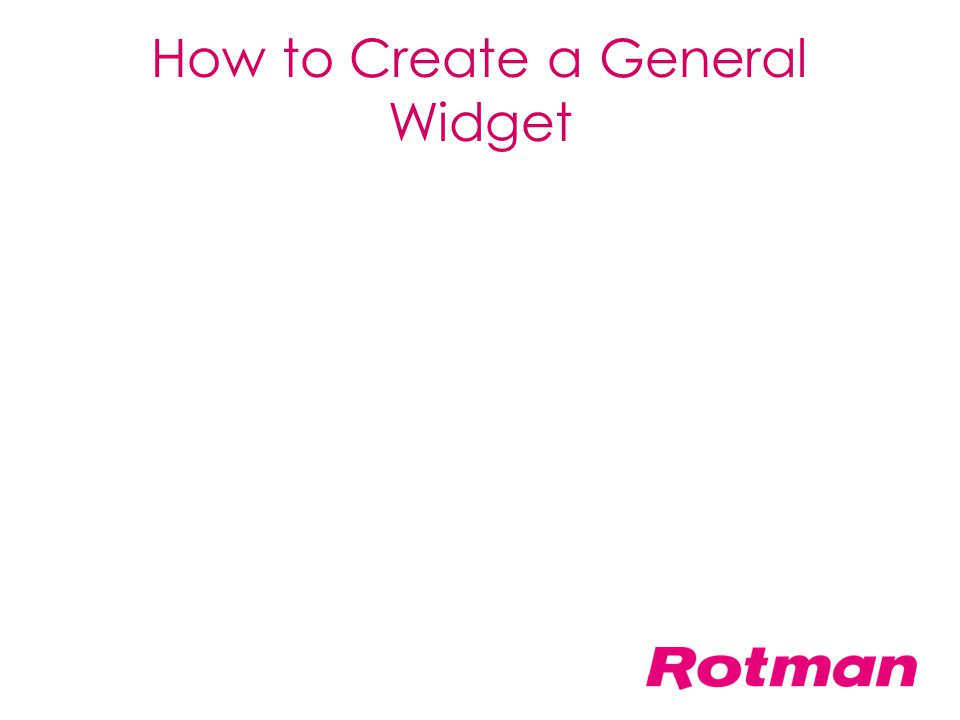 How to Create a General Widget
