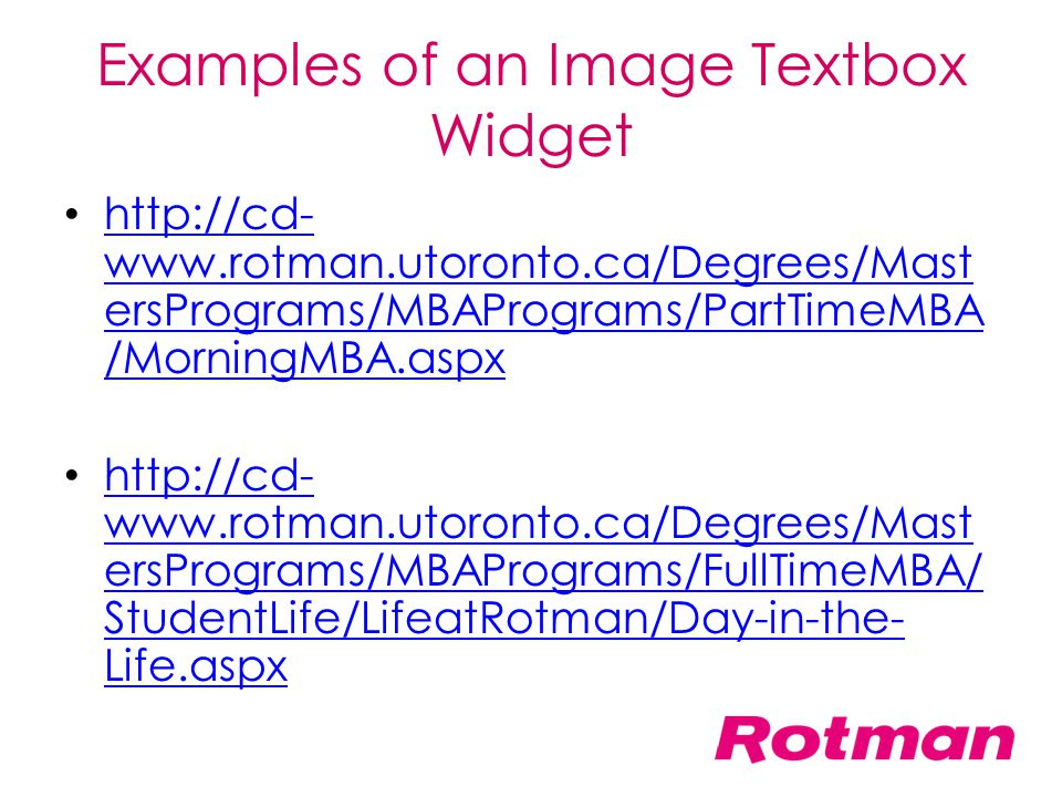 Examples of an Image Textbox Widget