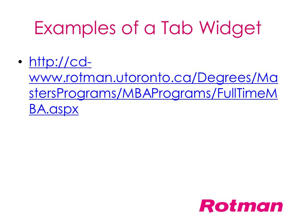 Examples of a Tab Widget
