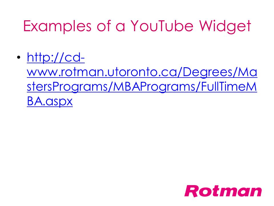 Examples of a YouTube Widget