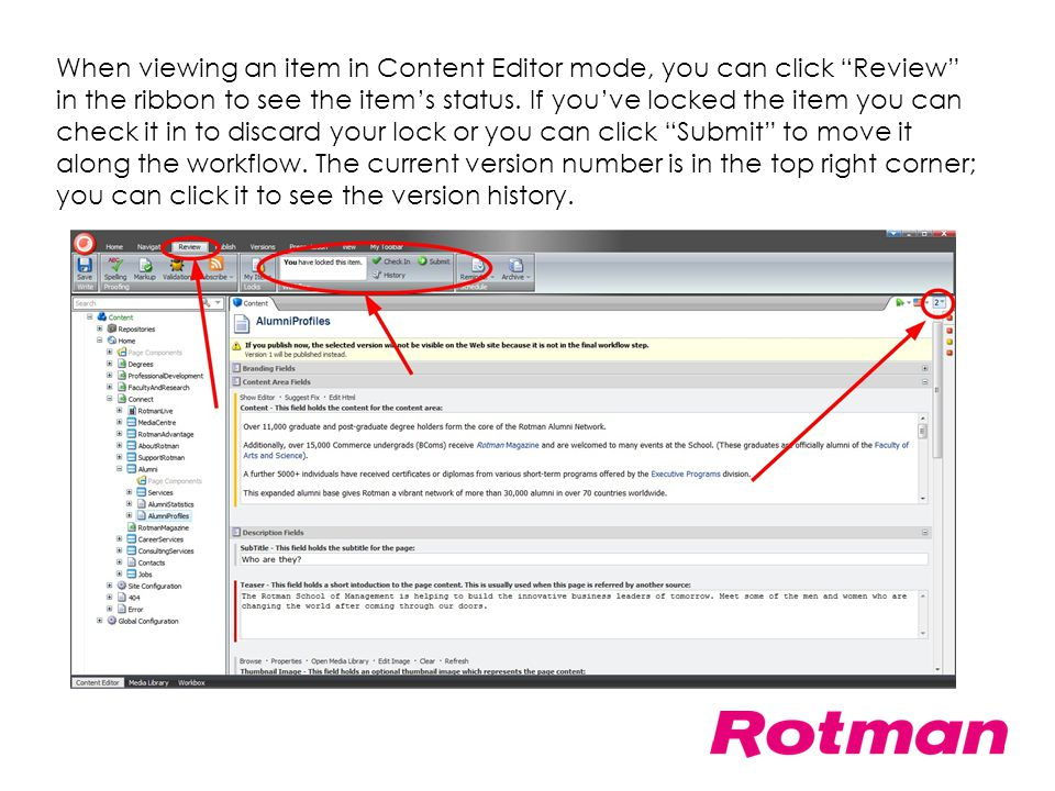 When viewing an item in Content Editor mode, you can click Review in the ribbon to see the item's status.
