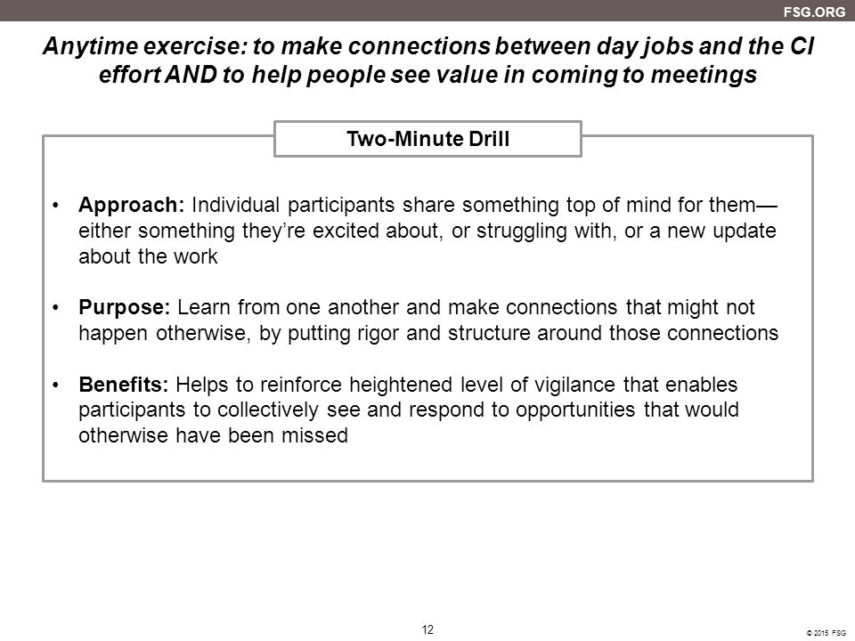Anytime exercise: to make connections between day jobs and the CI effort AND to help people see value in coming to meetings