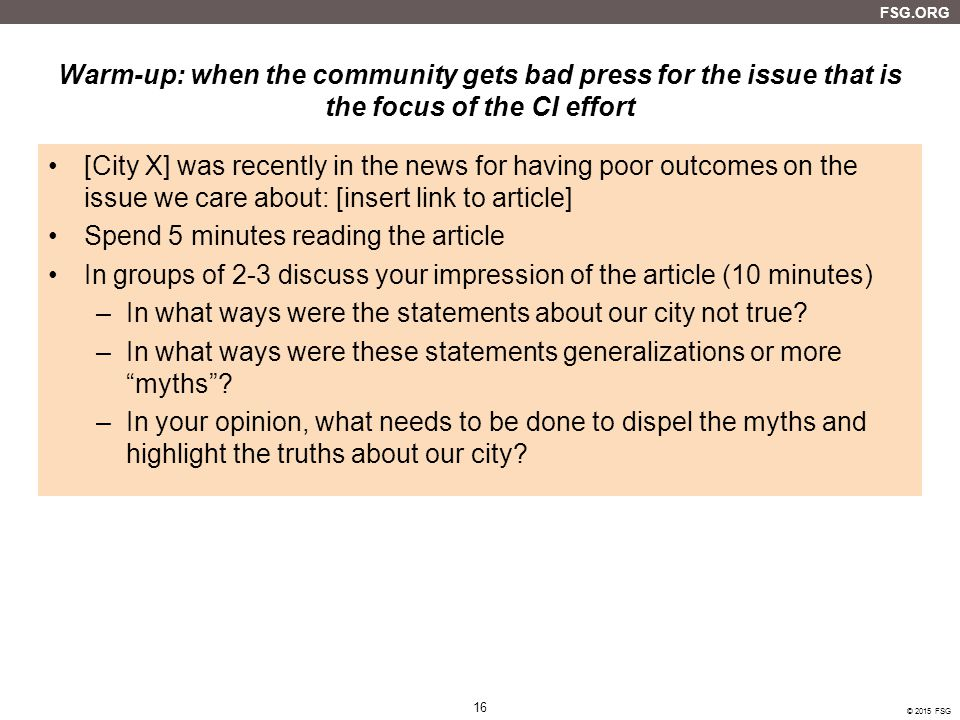 Warm-up: when the community gets bad press for the issue that is the focus of the CI effort