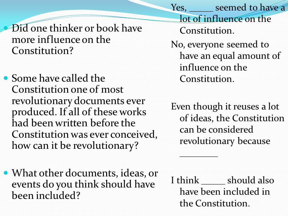 Did one thinker or book have more influence on the Constitution