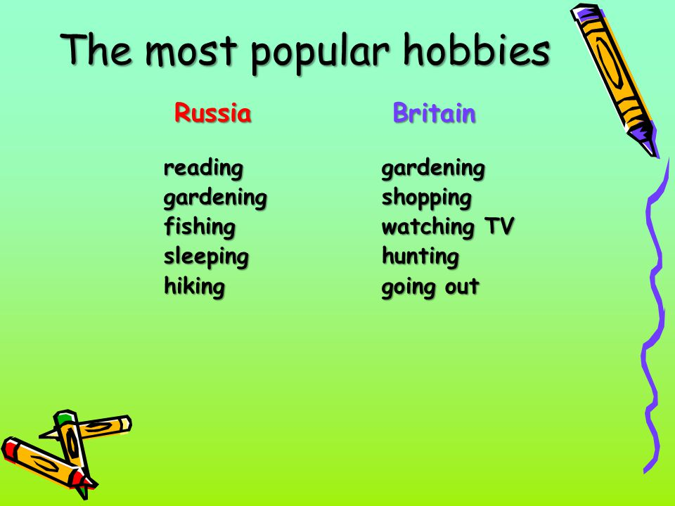 The most popular hobbies