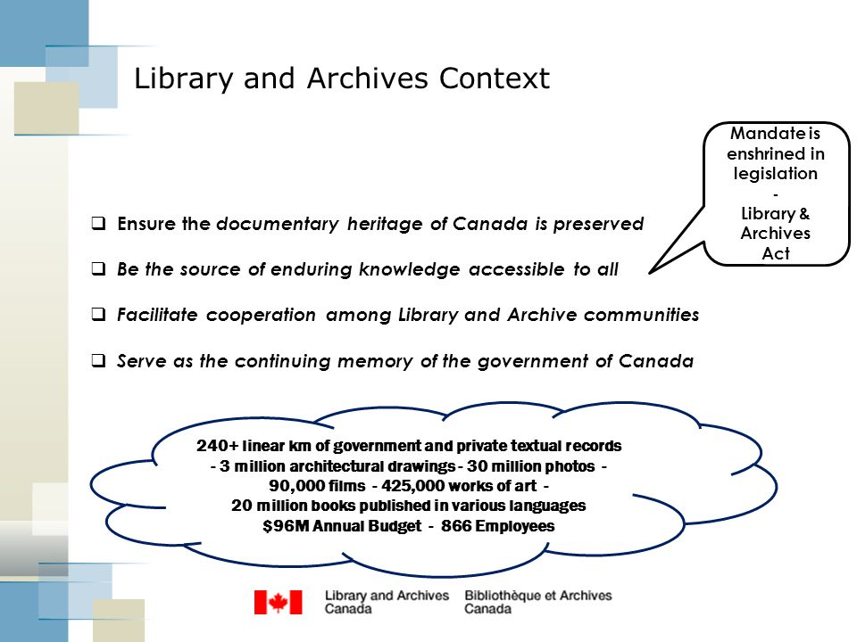 Library and Archives Context