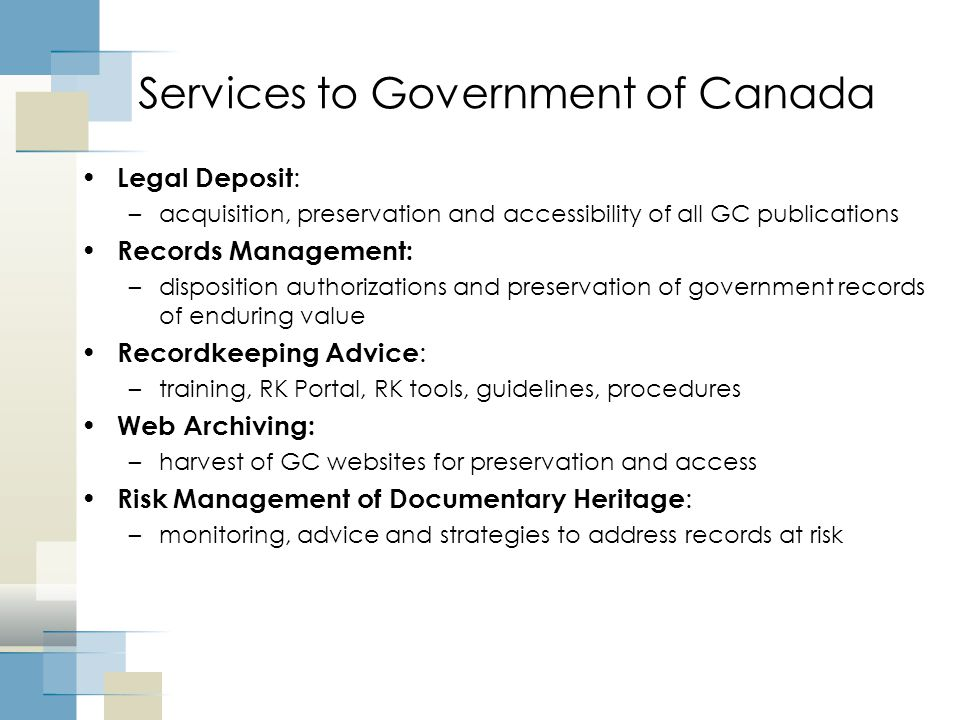 Services to Government of Canada