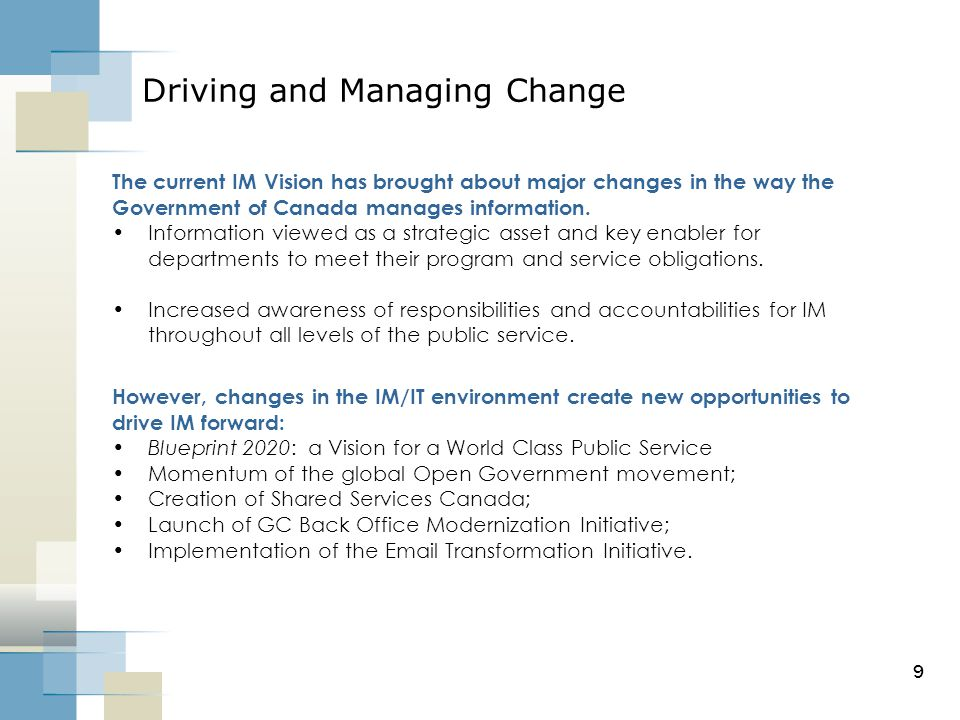 Exploring the canadian experience ppt video online download 9 driving and managing change malvernweather Choice Image