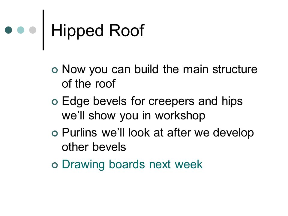 Hipped Roof Now you can build the main structure of the roof