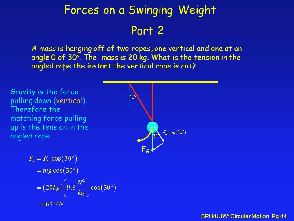 Forces on a Swinging Weight Part 2