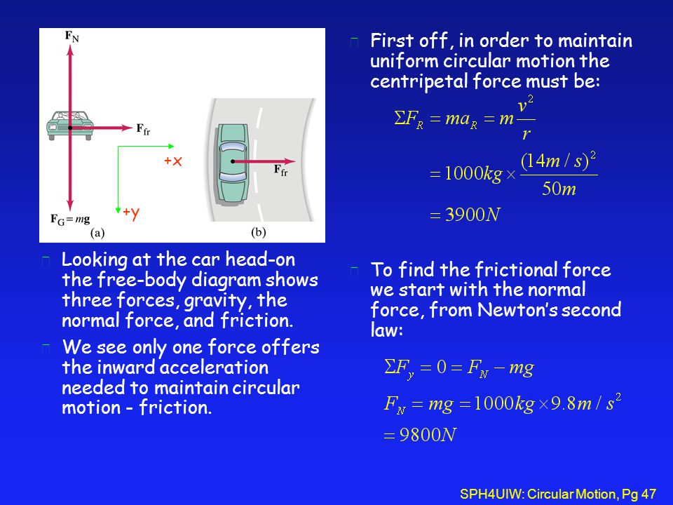 First off, in order to maintain uniform circular motion the centripetal force must be: