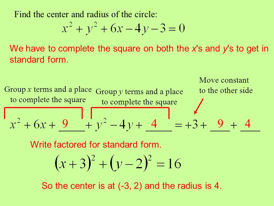 9 4 9 4 Find the center and radius of the circle: