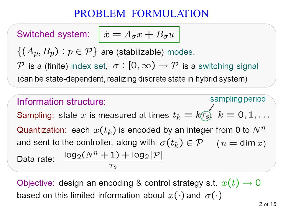 PROBLEM FORMULATION Switched system: Information structure: