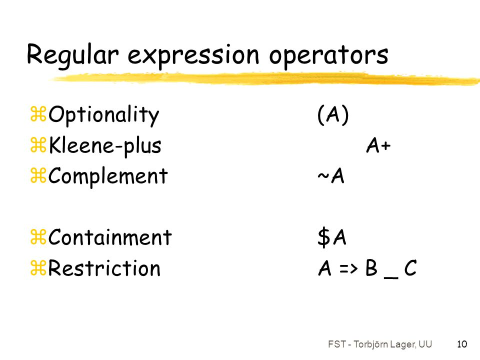 Regular expression operators