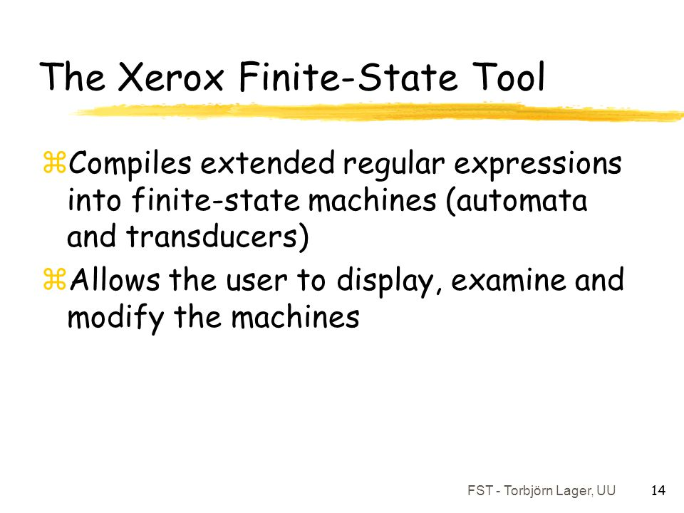 The Xerox Finite-State Tool