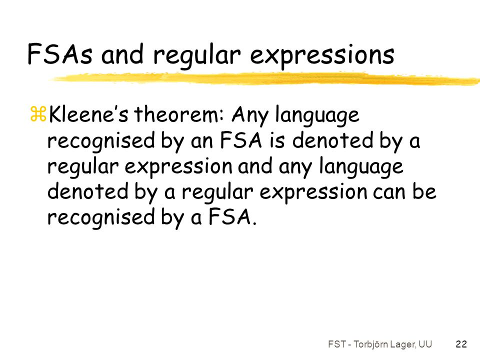 FSAs and regular expressions
