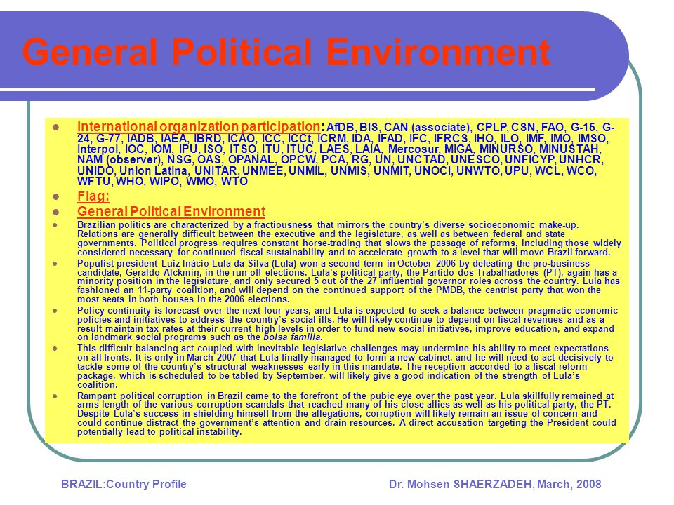 General Political Environment