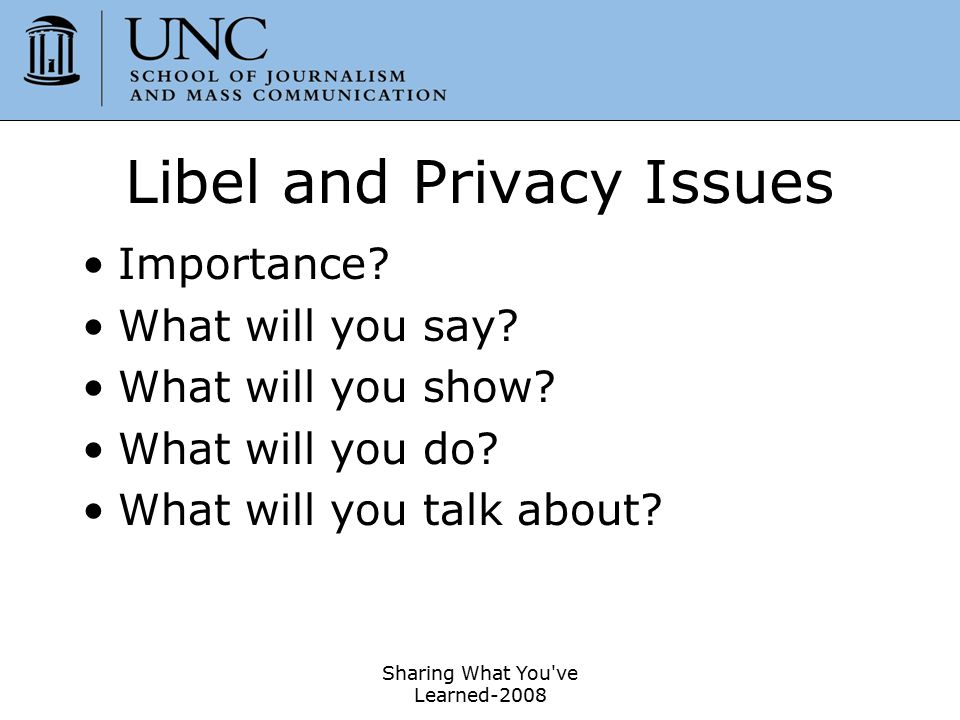 Libel and Privacy Issues
