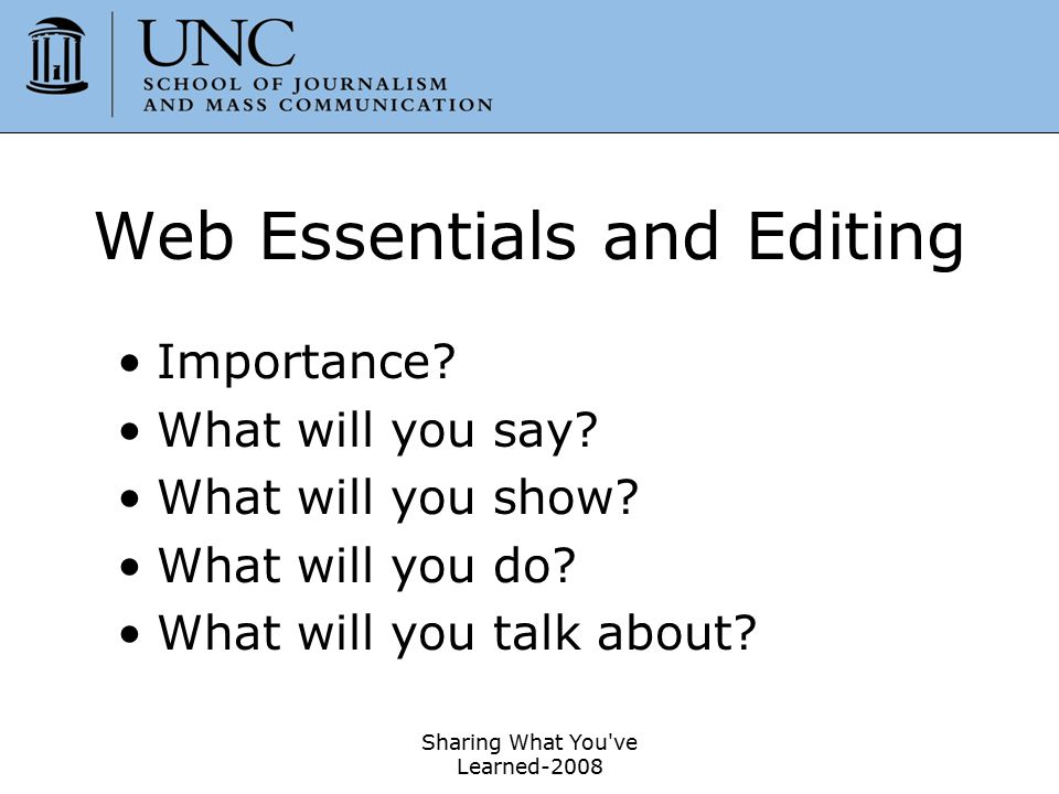 Web Essentials and Editing