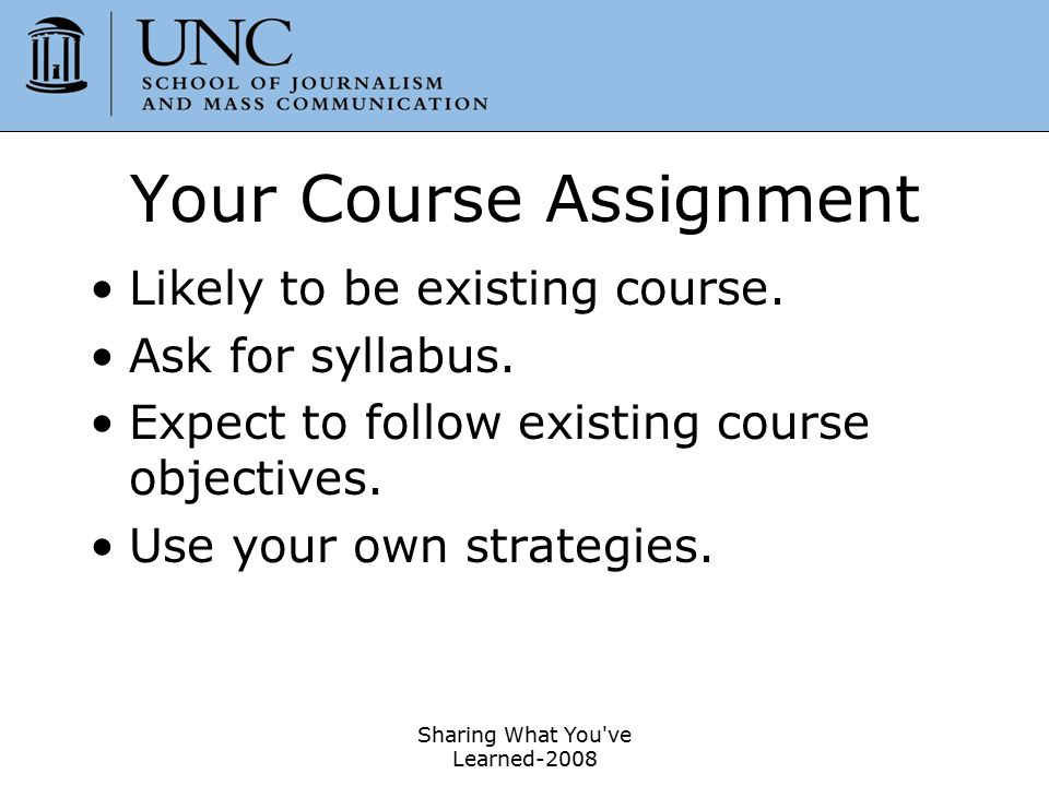 Your Course Assignment