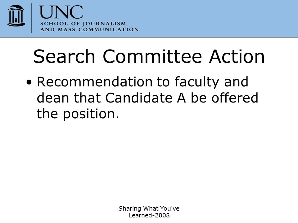 Search Committee Action