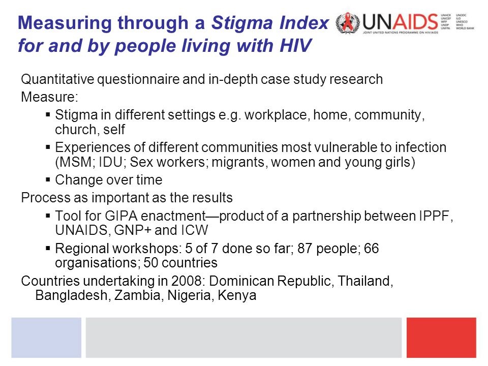 Measuring through a Stigma Index for and by people living with HIV