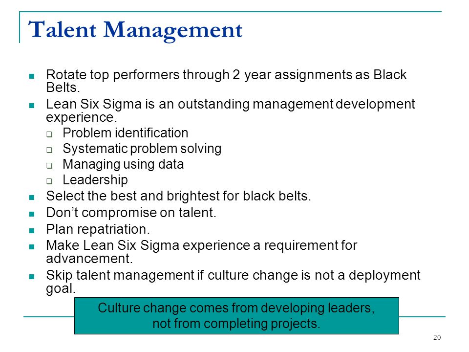 Talent Management Rotate top performers through 2 year assignments as Black Belts.