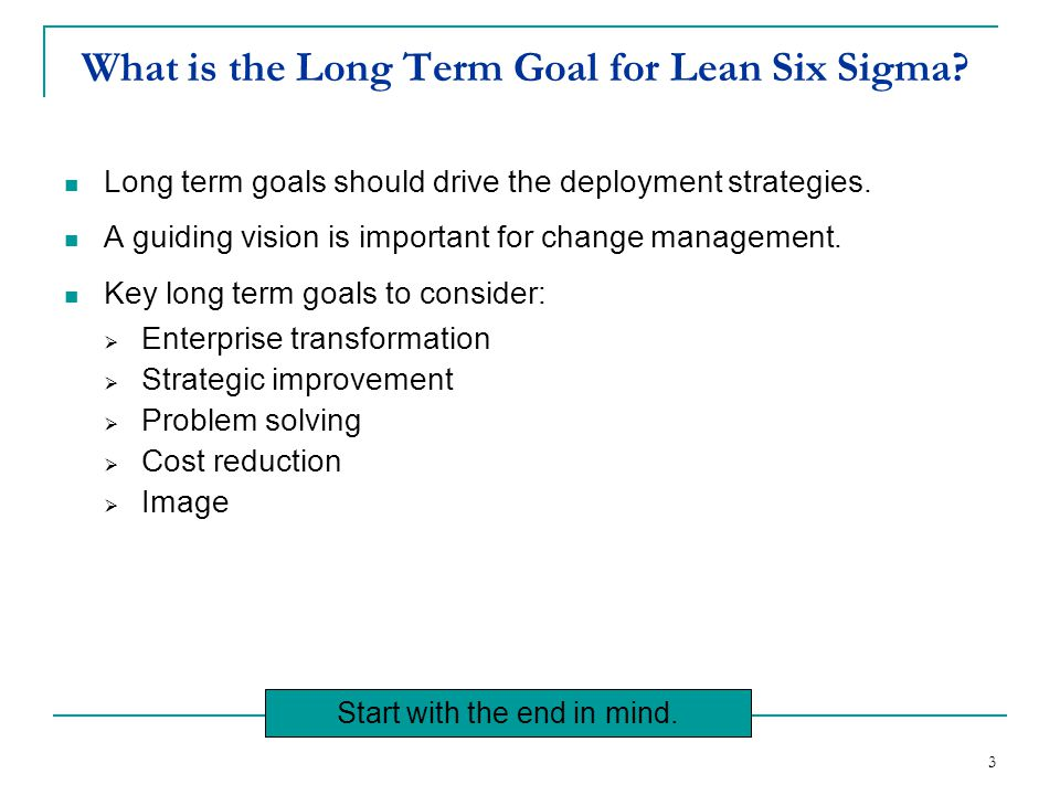 What is the Long Term Goal for Lean Six Sigma