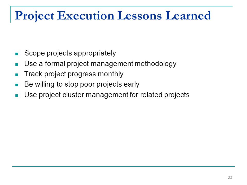 Project Execution Lessons Learned