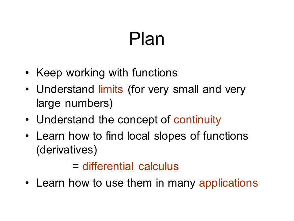 Plan Keep working with functions
