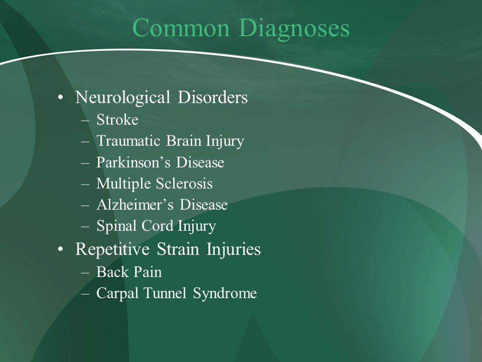Common Diagnoses Neurological Disorders Repetitive Strain Injuries